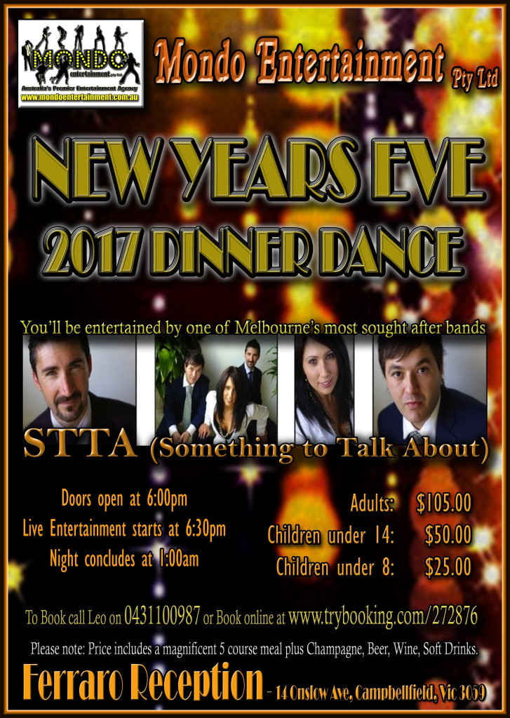 NEW YEAR'S EVE 2017 DINNER DANCE